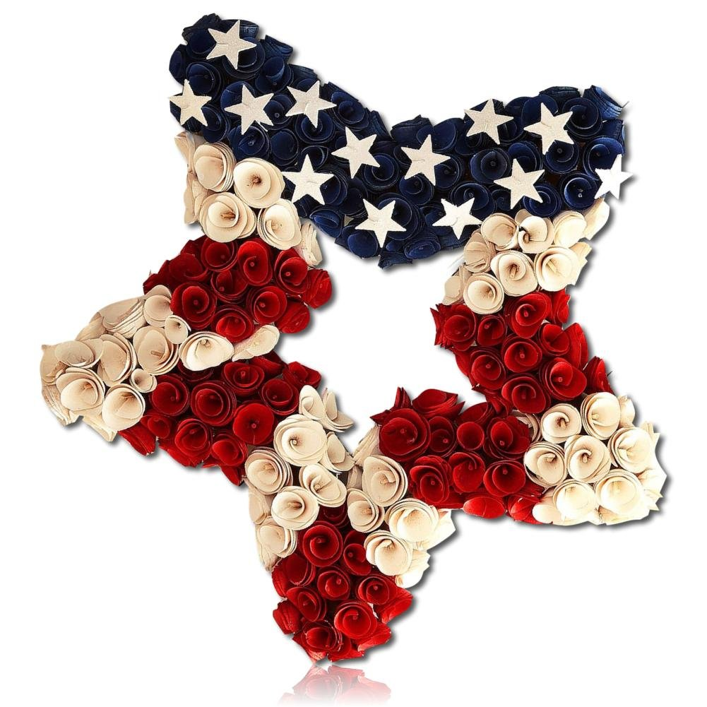 Custom & Unique (20'' Inches) 1 Single Mid-Size Decorative Holiday Wreath for Door, Made of Poplar & Polystyrene Foam w/ Wood Shavings Shaped Into Flowers w/ Stars Stripes Ol' Glory (Red, White & Blue)