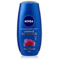 NIVEA Crème & Oil Pearls Infused Shower Gel & Body Wash with A Scent of Cherry Blossom 250ml