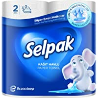 Selpak Super Absorbent Kitchen Paper Towel 80 Sheets x 3Ply, Pack of 2 Rolls