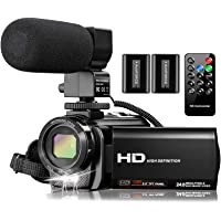 Video Camera Camcorder with Microphone, VideoSky FHD 1080P 30FPS 24MP Vlogging YouTube Cameras 16X Digital Zoom…