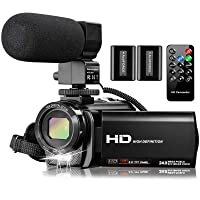Video Camera Camcorder with Microphone, VideoSky FHD 1080P 30FPS 24MP Vlogging YouTube Cameras 16X Digital Zoom Camcorder Webcam Recorder with Remote Control, 3.0 Inch 270° Rotation Screen