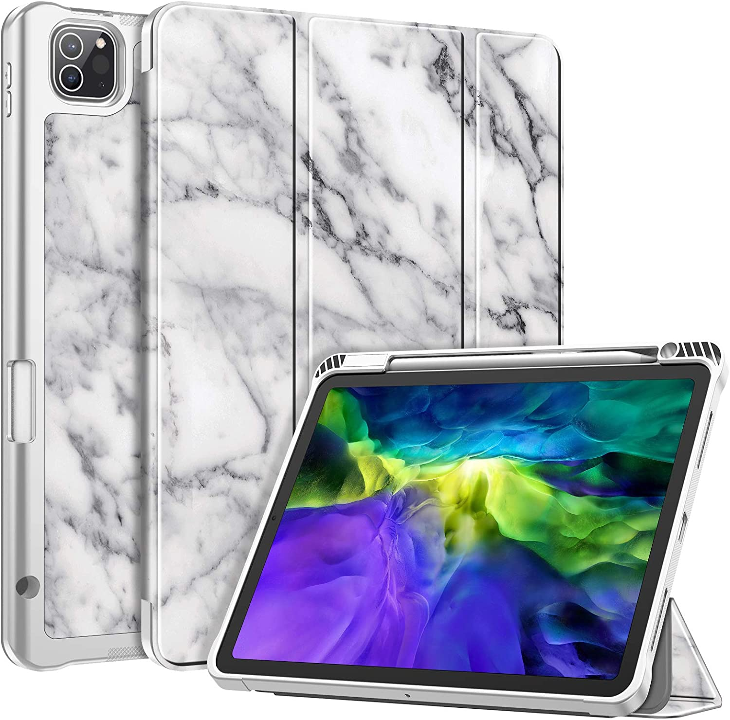 Fintie SlimShell Case with Pencil Holder for iPad Pro 11 Inch 2nd & 1st Generation 2020/2018 - [Supports 2nd Gen Pencil Charging] Soft TPU Stand Back Cover with Auto Wake/Sleep, Marble White