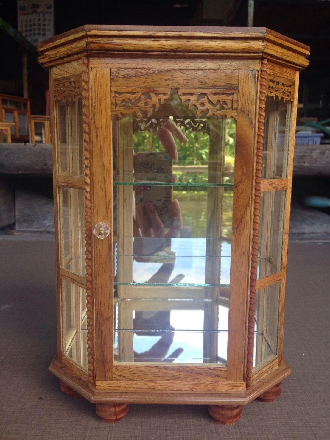 Mini Vintage Cupboard Teak Wood Cabinet Craft Handmade Carved Thai Furniture 5''