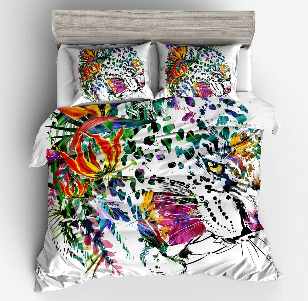 YIKAISHENG 3D Art Animal Painting Bedding Set Twin Size,Colorful Art Painted Tiger Printed in Duvet Cover Set.3pcs 1 Duvet Cover,2 Art Animal Painting Pollow Shams ,No Comforter Inside.