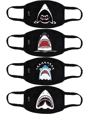 Fascigirl 4 UNIDS Máscara de la Boca de Dibujos Animados Tiburón Impreso de Algodón Transpirable Mascarilla