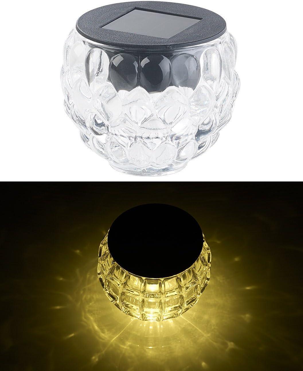 Lunartec Pack de 2 photophores en verre /à LED /à alimentation solaire /Ø 8 cm Lucilla