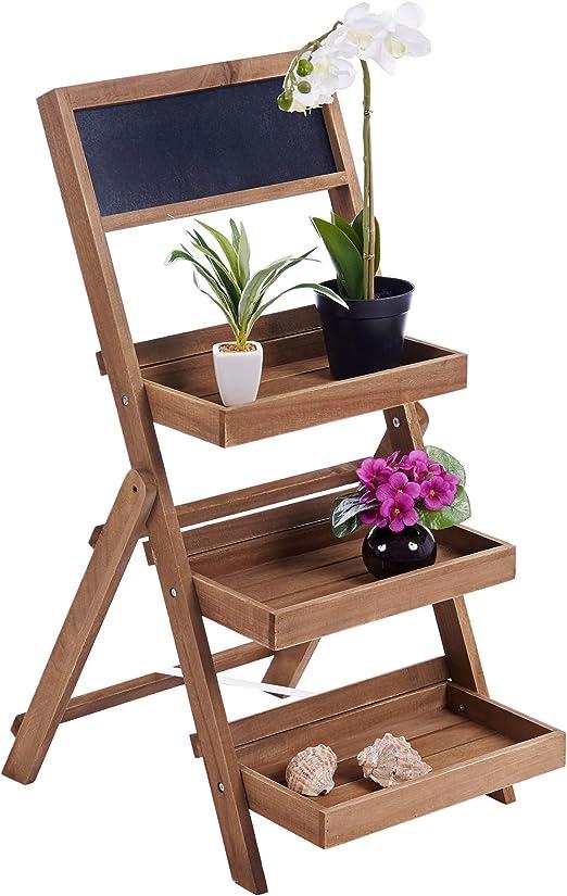 ts-ideen Estantería Jardinera Color Nogal con escalones Plegables y pizarrita de Notas: Amazon.es: Hogar