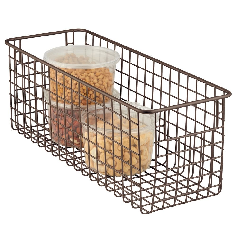 "mDesign Farmhouse Decor Metal Wire Food Storage Organizer Bin Basket with Handles for Kitchen Cabinets, Pantry, Bathroom, Laundry Room, Closets, Garage - 16"" x 6"" x 6"" - Bronze"