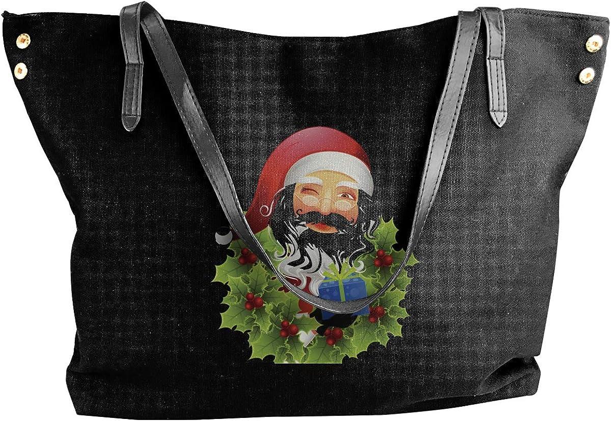 Santa Claus And Holly Black Classic Canvas Tote Bag Large Women Casual Shoulder Bag Handbag