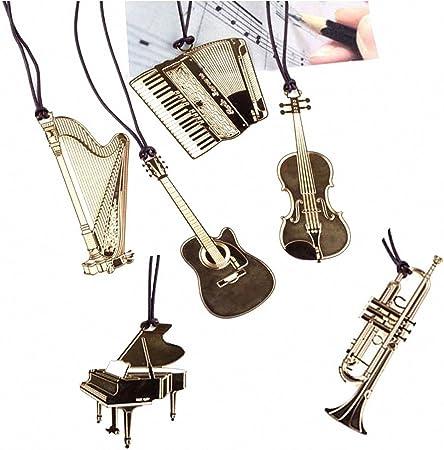 Pack de 6 Cute Kawaii instrumentos musicales Metal marcapáginas para libros Mark papel para oficina de la escuela los niños suministros por fascola: Amazon.es: Hogar