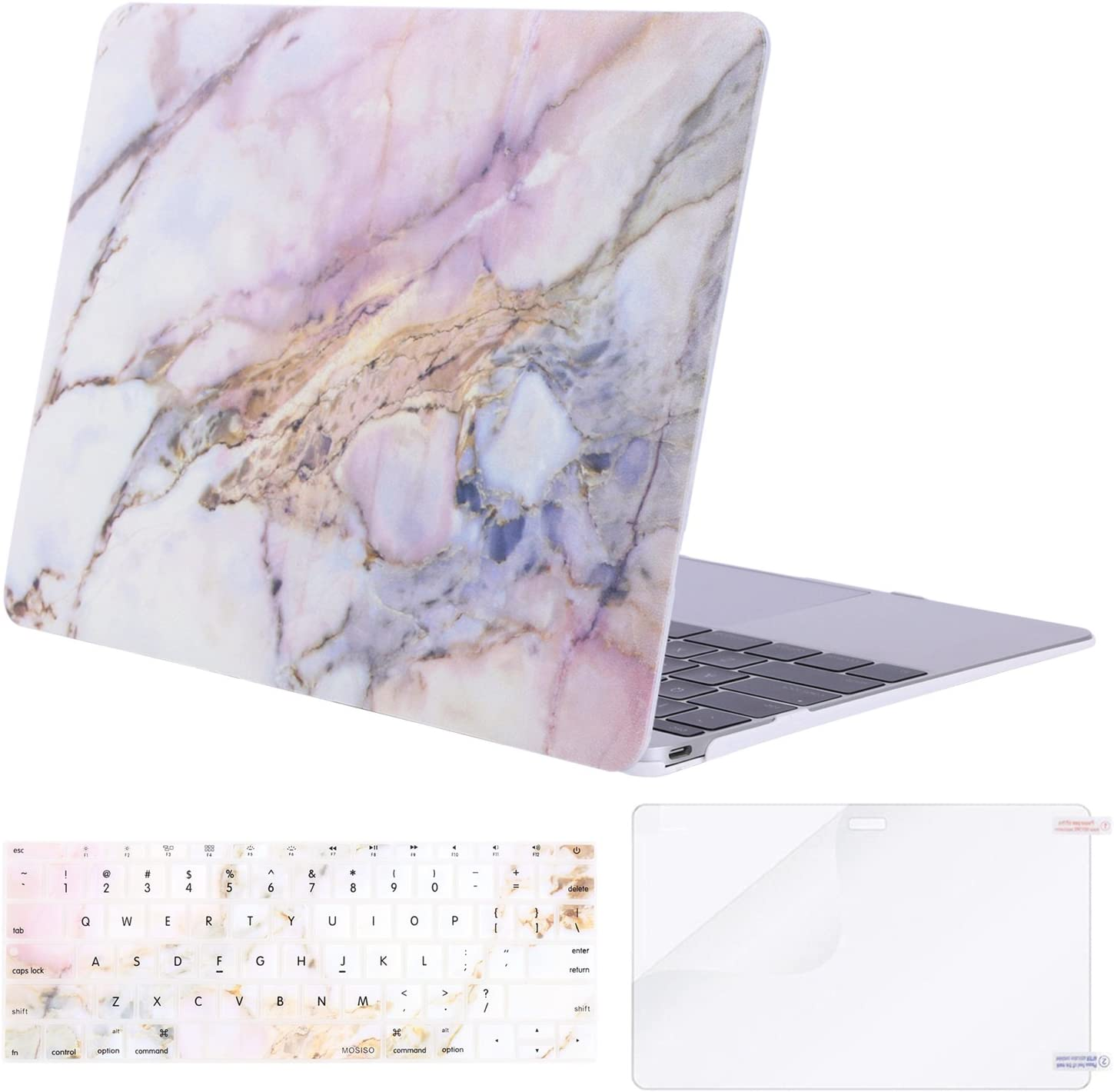 MOSISO MacBook 12 inch Case (Model A1534, Release 2017 2016 2015), Plastic Pattern Hard Shell & Keyboard Cover & Screen Protector Compatible with MacBook 12 inch with Retina Display, Colorful Marble