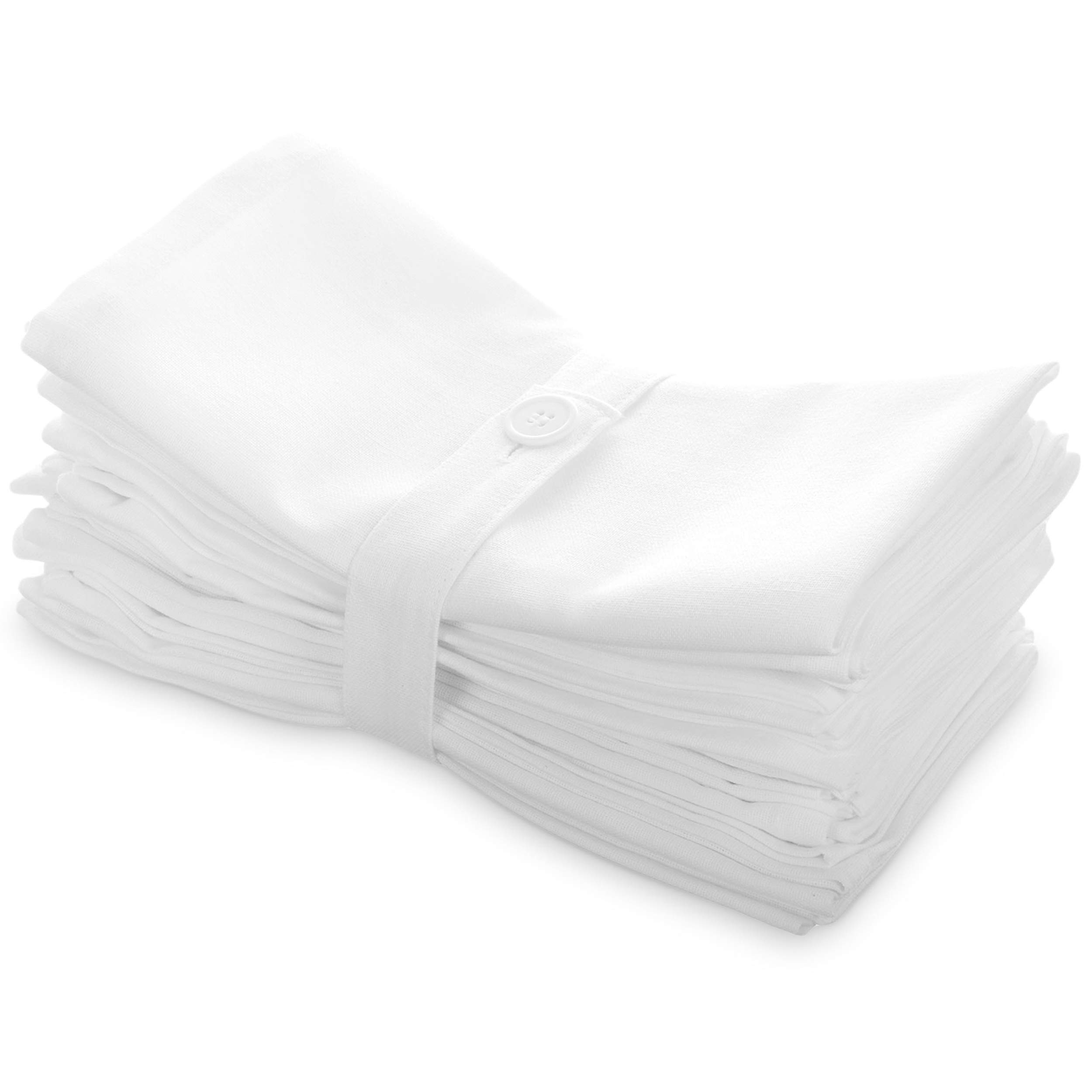 Aunti Em's Kitchen White Cotton Napkins Cloth 20 x 20 Oversized 100% Natural Bulk Linens for Dinner, Events, Weddings, Set of 12
