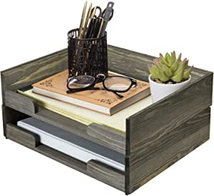 MyGift 2-Tier Vintage Dark Gray Solid Wood Stackable File Folder Holder/Document Organizer Storage Trays