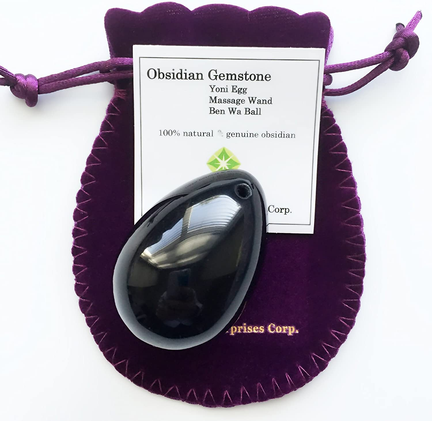 Large Size Yoni Egg, Pre-drilled, Made of Obsidian Gemstone, Entry Level Affordable, Manually Polished, with Certficate and Instructions, For Strengthening Love Muscles to Battle Urinary Incontinence,