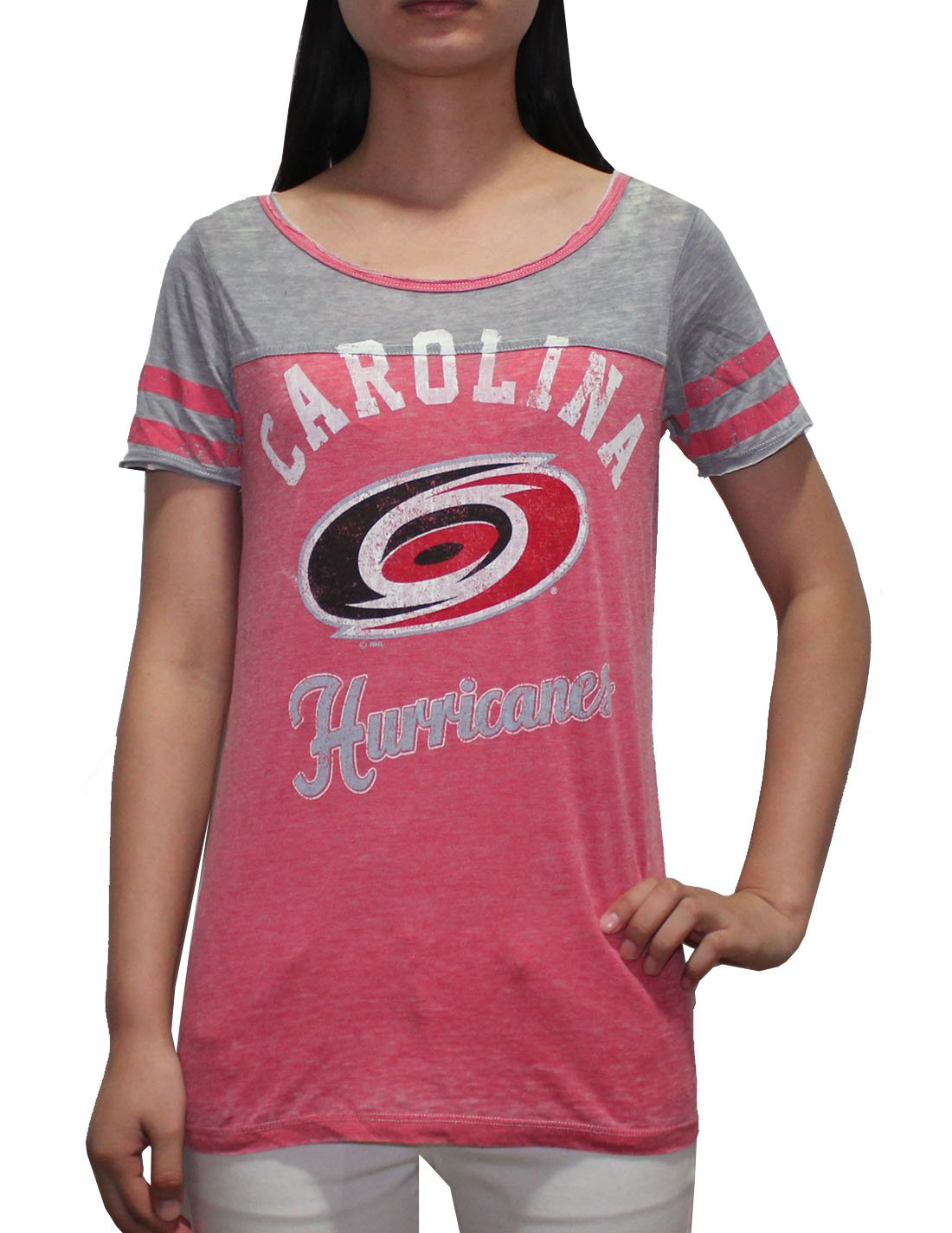 NHL Carolina Hurricanes Womens Crew-Neck Short Sleeve T Shirt (Vintage Look)