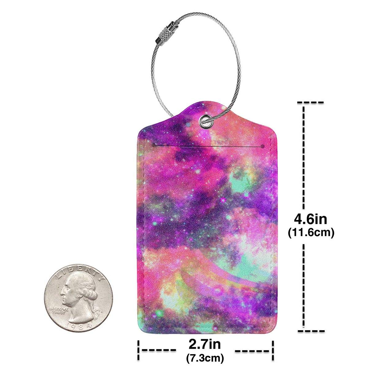 Lucaeat Rainbow Fantasy Galaxy Pattern Luggage Tag PU Leather Bag Tag Travel Suitcases ID