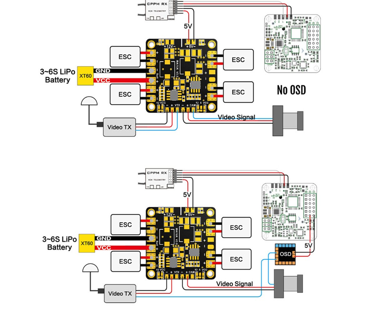 Matek Pdb Mini Power Distribution Board 5v 12v Hub Bec Telemetry Cc3d Wiring Diagram Computer Zubehr