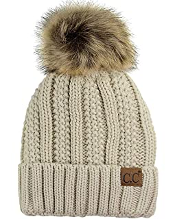20856ca788c CC Quality Women s Faux Fur Pom Fuzzy Fleece Lined Slouchy Skull Thick Cable  Beanie hat