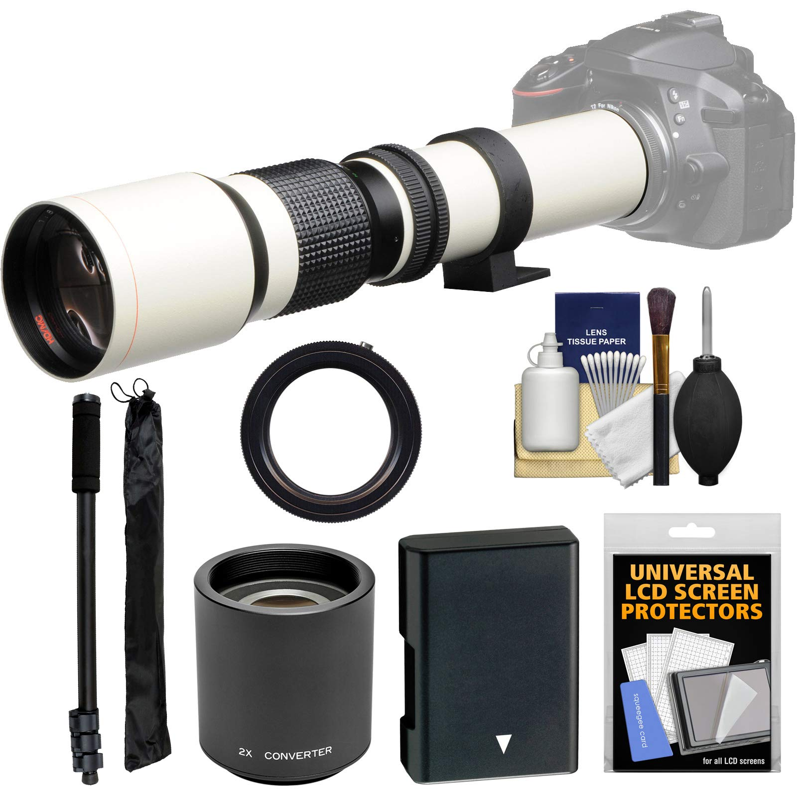 Vivitar 500mm f/8.0 Telephoto Lens (T Mount) (White) with 2X Teleconverter (=1000mm) + EN-EL14 Battery + Monopod + Kit for D3300, D3400, D5300, D5500, D5600 by Vivitar (Image #1)