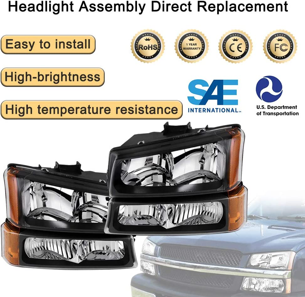 Black 03-06 Chevrolet Silverado 1500 2500 3500//2007 Chevrolet Silverado Classic Headlamp Replacement with Signal Bumper Light Pair Headlight Assembly Compatible with 2003-2006 Chevy Avalanche