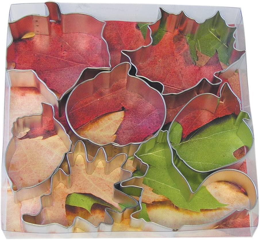 R&M International Autumn Leaf Cookie Cutters, Squirrel, Pumpkin, Acorn, Apple, Ivy, Pin Oak, Maple Leaf, 7-Piece Set