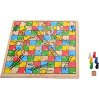 Hamleys Wooden Snakes and Ladders Board Game, Multi Color