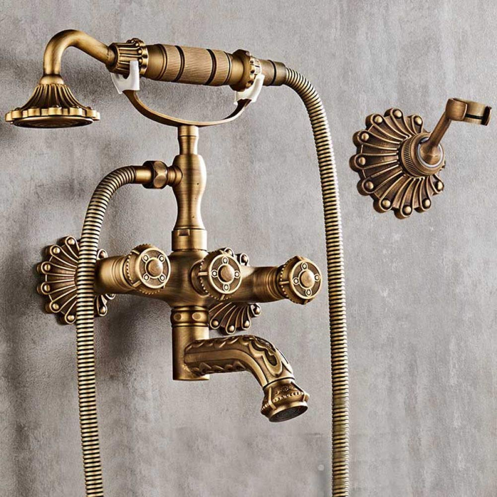 GZF Brass Shower Set European Style Bath Hand Nozzle, Antique Shower Tap, Hot And Cold Retro Shower System