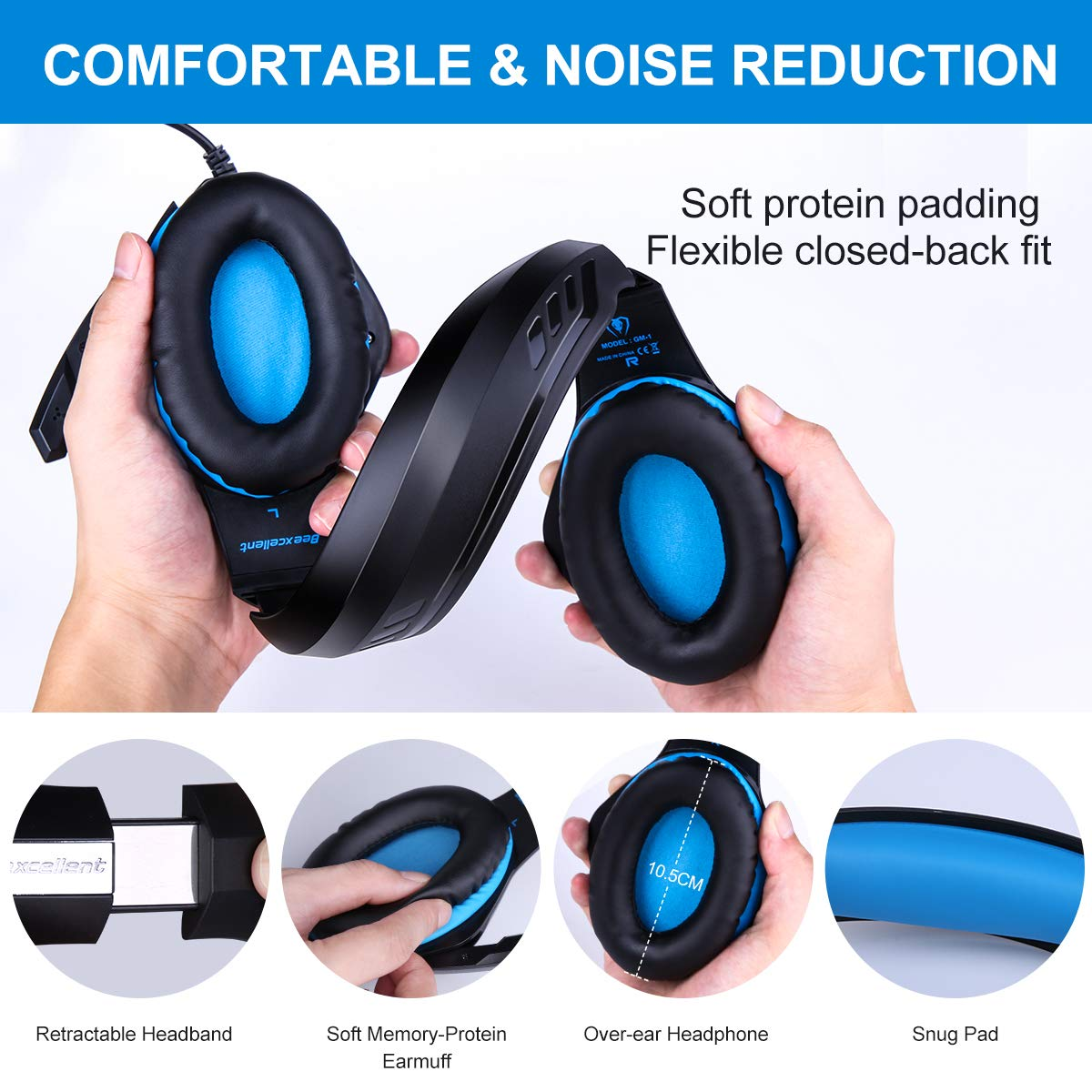 ARINO Cuffie Gamer Headset Gioco Video Cuffia con LED/per Cuffia Gaming Cablata Filo USB e 3.5 mm Presa per iPhone6/6S/6Plus/iPad/PS4/XBOX One/PC Windows XP/7/8/8.1/10/Tablet Cellulare (Blu)