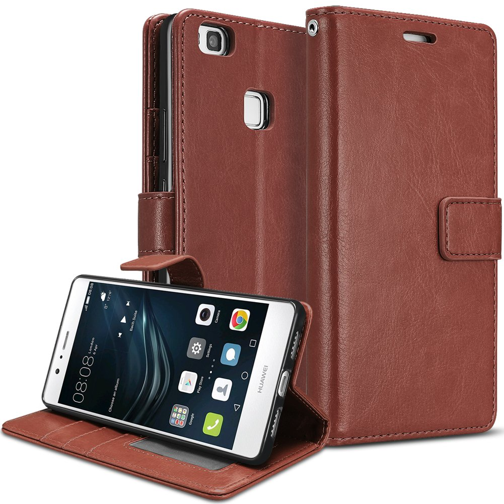 SKYLET Case Compatible with Huawei P9 Lite Wallet, PU Leather Flip Case  Compatible with Huawei P9 Lite with Card Slot Kickstand Holder