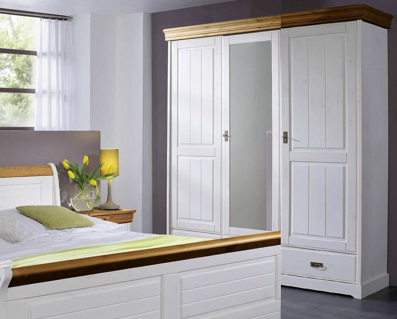 Kleiderschrank Schrank 'Mailand' 3-trg. Kiefer weiß massiv Holz honig Landhaus