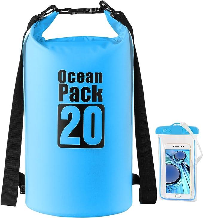 Seco funda con teléfono móvil resistente al agua, Nave Star Outdoors Dry Bag 10L/20L/amarillo/azul/negro, agua Pack Saco fijo para barco conducción, senderismo, kajaken Kayak, canoa, Pesca, nadar, esquí, snowboard, color azul, tamaño