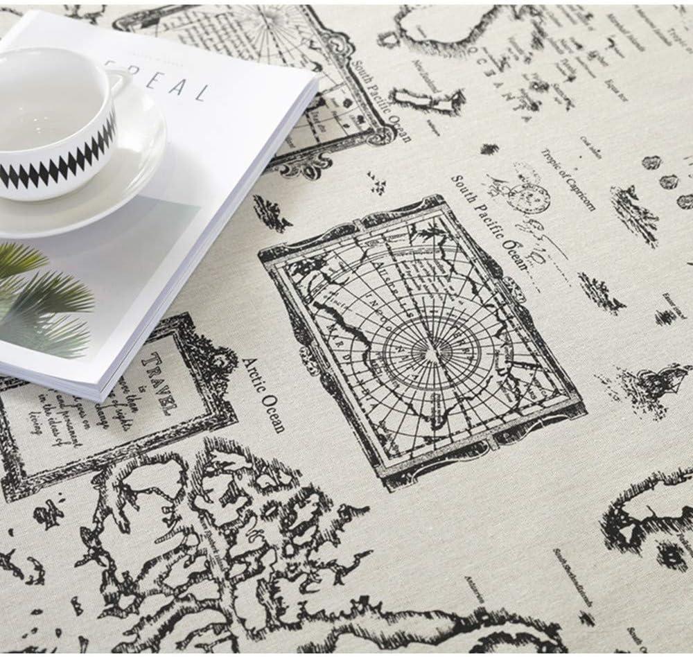 DXSX Manteles Mapa del Mundo Mesa Rectangular Antimanchas con la Tela de algodón de Lino Cubierta de la Tabla Conveniente para la decoración casera de la Tabla del café de la Boda