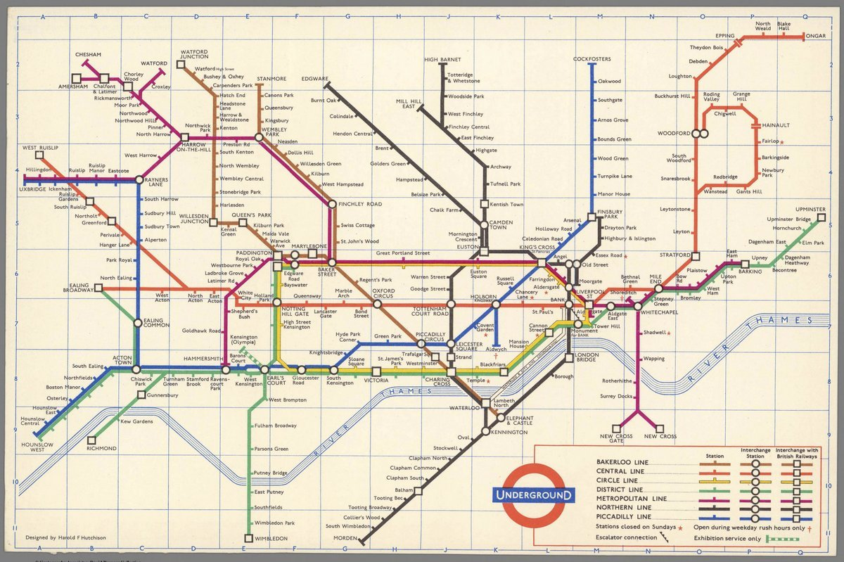 1962 Pocket Map Underground Designed By Harold F Escalator Schematic Hutchison Antique Vintage Reprint Posters Prints