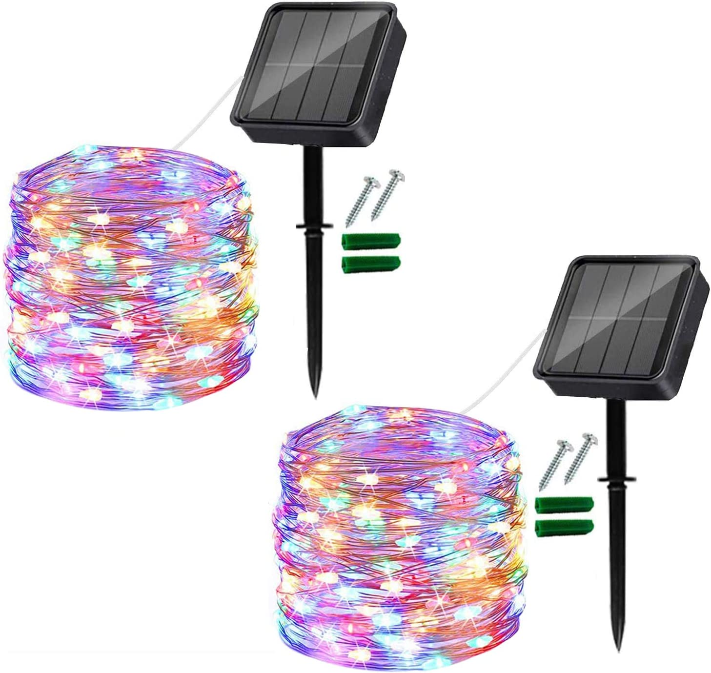 Solar String Lights Outdoor, 2 Pack 120LED Solar Garden Lights Waterproof 12M/40Ft 8 Modes Indoor/Outdoor Fairy Lights Copper Wire Decorative Lighting for Patio, Yard, Party, Wedding (Multi-Colored)