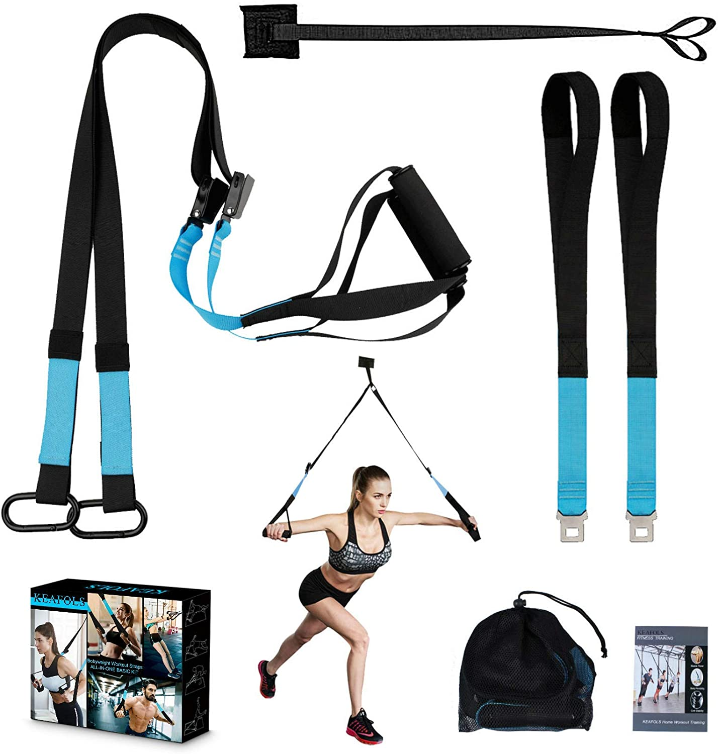 Amazon.com : KEAFOLS Bodyweight Fitness Resistance Kit Extension Strap for Door Pull Up Bar, Powerlifting Strength Workout Kit Straps Home Gym Exercise Full-Body Workout Equipment for Complete Body Core Exercise : Sports