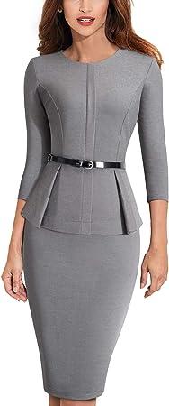 Estilo: Vestido de negocios con cinturón Peplum,Lavado a mano,60% Algodón, 35% Poliéster, 5% Elastan