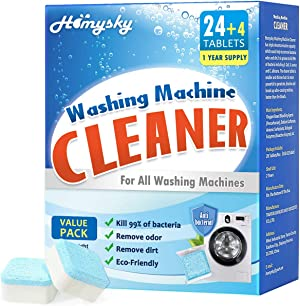 Homysky Washing Machine Cleaner Tablets, Washer Deep Cleaning Tablet, for Front and Top Load Washers, Value 28 Pack, A Year Supply