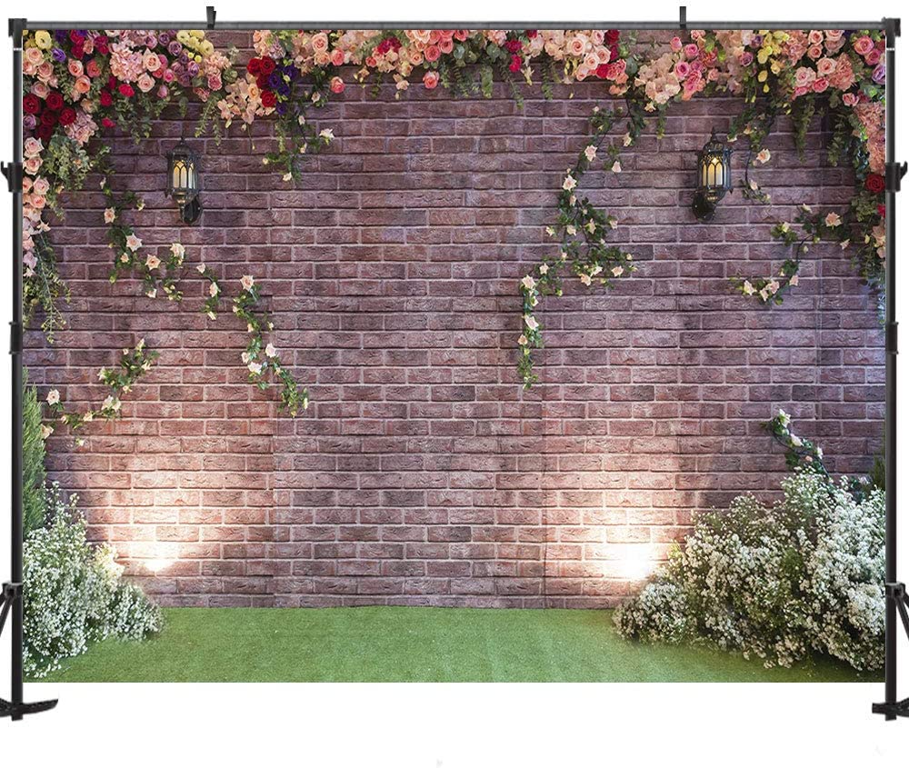 Zhy 7X5FT Floral Wall Backdrop Color Flowers Green Leaves Wall Background for Photography Spring Safari Party Decor Wedding Anniversary Party Baby Shower Newborn Children Booth