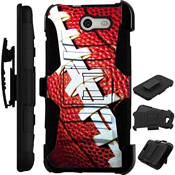 the latest eadb2 96df0 For Samsung Galaxy J3 Mission Case / Galaxy J3 Eclipse Case / Galaxy J3  Luna Pro Case / Sol 2 + Tempered Glass Cover Stand LuxGuard Holster  (Football)