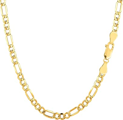 """Pure 14K Yellow Gold REAL 3.5mm Italian Figaro Chain Link Bracelet Womens 7in 7/"""""""