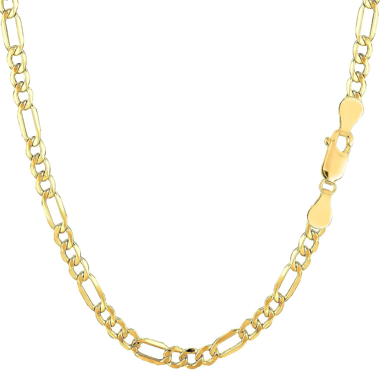 10k Yellow Gold Hollow Figaro Bracelet Chain, 3.5mm 7.5 JewelryAffairs