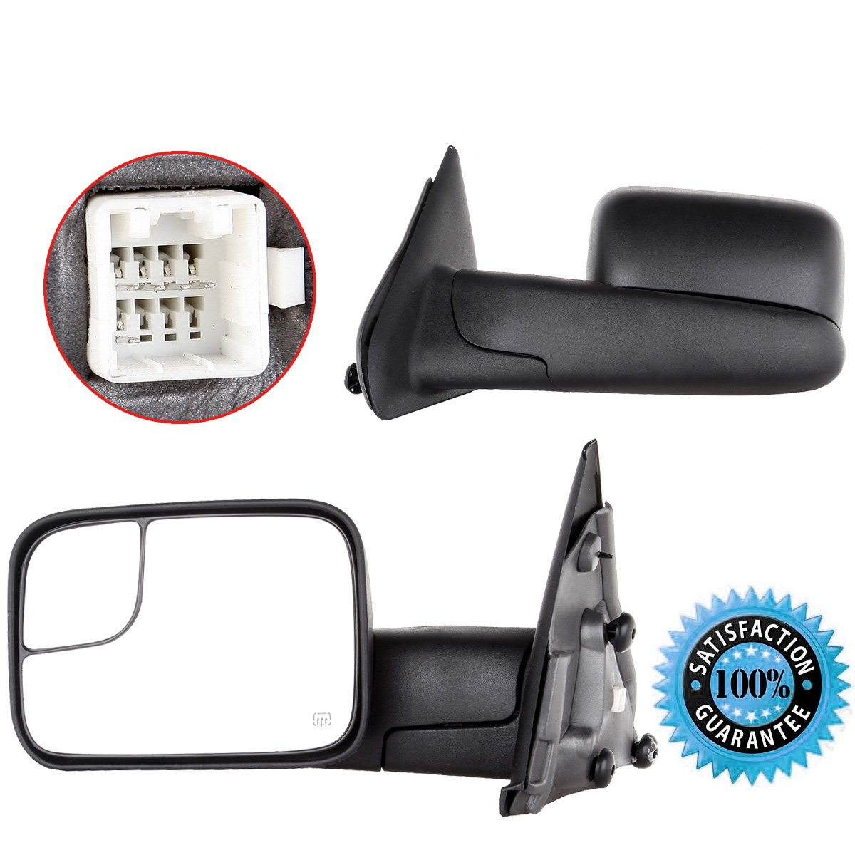Cciyu Left Right Power Heated Flipup Towing Mirrors For 02 08 Dodge Ram 2500 1500