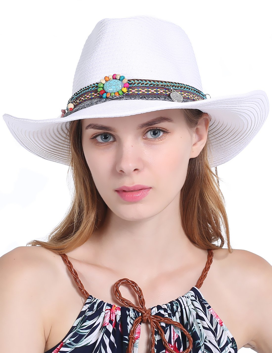 Vintage Unisex Adults Western Cowboy Hat with Rhinestone Summer Straw Sun Hats (White)