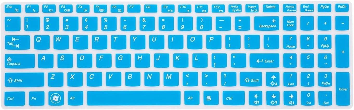 Leze - Ultra Thin Silicone Laptop Keyboard Cover Skin Protector for Lenovo Ideapad Z50,Z510,Z585,Z570,Z710,U510,U530,Y50,Y70,Y500 Laptop Semi - Blue