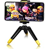 Foldable Mini Tripod, UBeesize Ultra Compact Micro Tripod Stand with Cell Phone Holder for iPhone & Android Phone