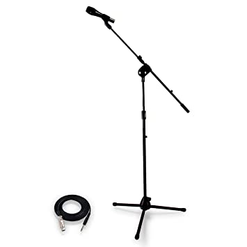 PYLE-PRO Dynamic Microphone and Tripod Stand - Height Adjustable from 2 6'  to 5 1' ft and Telescoping Boom Arm Mic Length 7 48'' Inch w/ Acoustic Pop