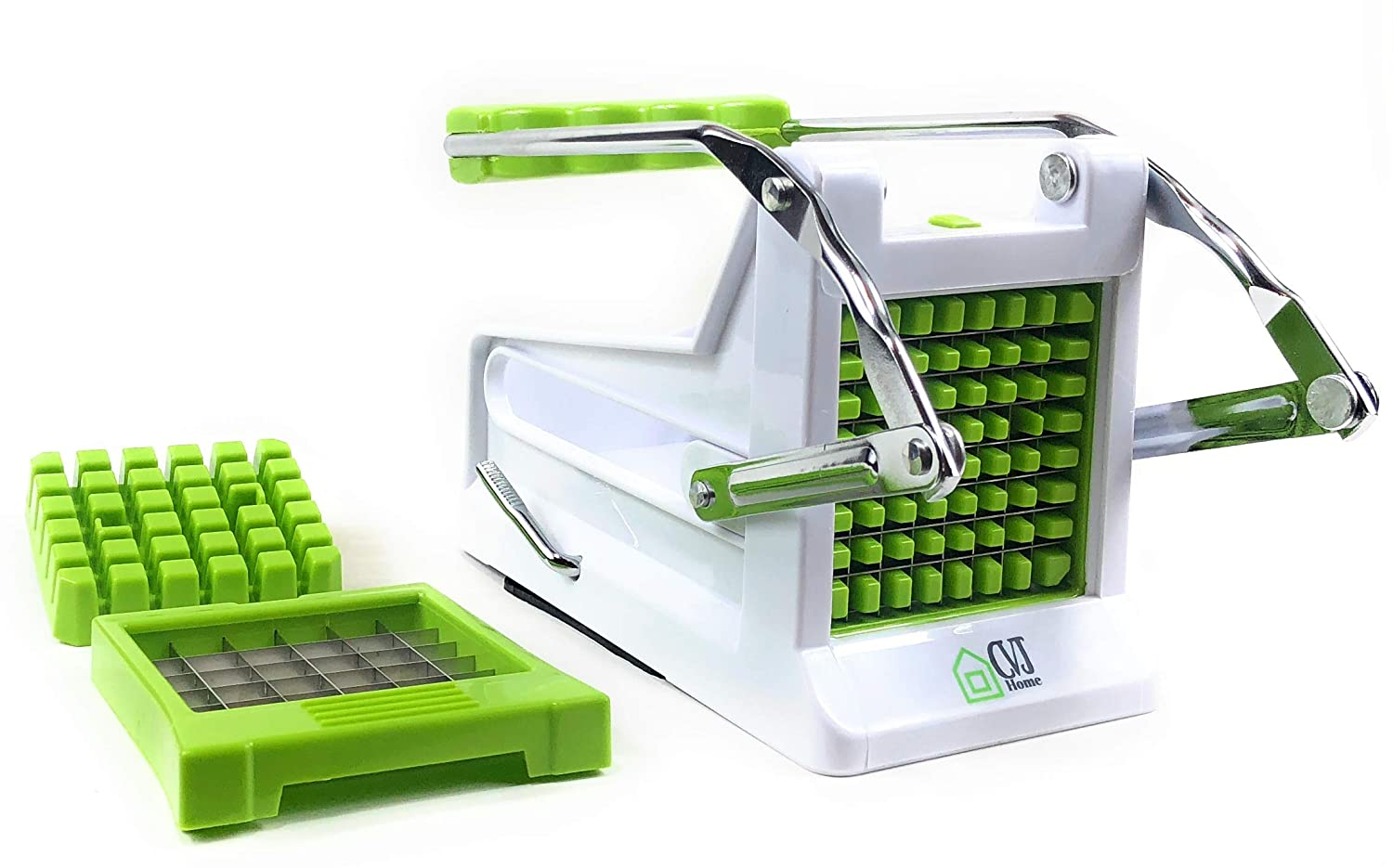 French Fry Potato Cutter The Best 2018 Manual Plastic Professional Potato Slicer With 2 Interchangeable Blades Also Use for Vegetables Like Cucumber, Carrot & More