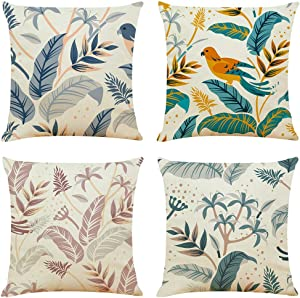 Longyier Pillow Covers 18x18 Inch, Decorative Throw Pillow Cover for Couch Sofa Bed,Linen Fabric Plant Flowers Bird Bohemian Boho Throw Pillows (Set of 4)