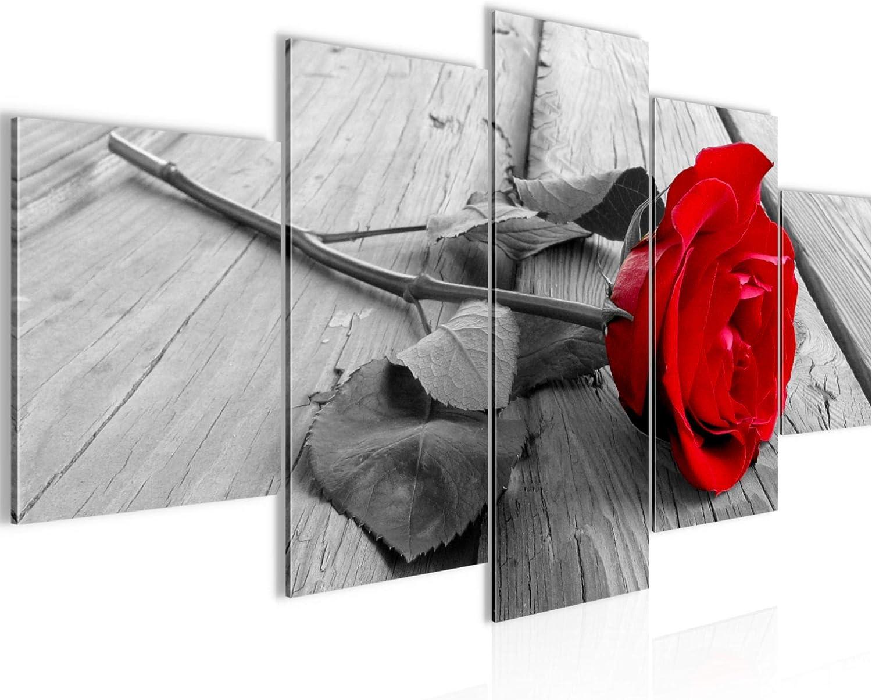 Cuadro Rosa de flores Decoración de Pared 200 x 100 cm Forro polar - decoración de Pared tamaño XXL Salón Apartamento impresiones Artísticas Rojo 5 Partes - 100% MADE IN GERMANY - listo para colgar 20