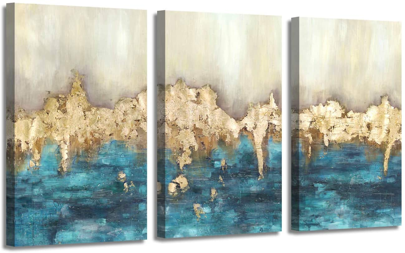 "Blue & Gold Abstract Wall Art: Heavy Textured Hand Painted Gold Foils Artwork Painting for Living Room (16"" x 26'' x 3 Panels)"